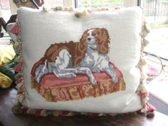 Vintage needlepoint handmade king Charles spaniel cushion/pillow. sold