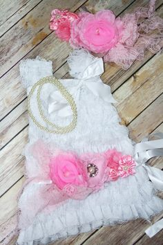 Petti Lace Romper Dress White Pink Set With by CuddleBunnyCouture, $45.00