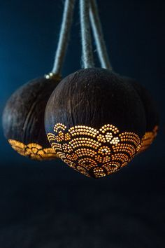 Pendant Trio handmade coconut lamp by SKURA Design.