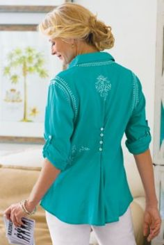 Embroidered Shirt - Womens Soft Cotton Long Sleeve Shirt, Embroidered Blouse | Soft Surroundings