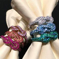 Rosamaria G Frangini | High Colorful Jewellery | Rainbow knot ring titanium diamonds handmade madeinitaly unique luxury elegance #FabioSaliniGioielli