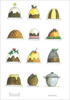 Christmas Puddings tea towel