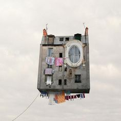 Laurent Chehere's flying house washing