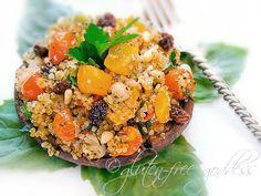 Quinoa Recipe: Stuffed Portobello Mushrooms with Pine Nuts and Raisins |Gluten-Free Goddess® Recipes (A comment suggested using the quinoa, chopped almonds and chopped dates...yumm...)