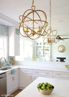 Gold Orb Chandelier - Ballard Designs, Sand and Sisal (diy chandelier orb) Classic Kitchen, New Kitchen, Kitchen Decor, Kitchen Walls, Gold Kitchen, Kitchen Ideas, Kitchen Cabinets, Kitchen Pendant Lighting, Kitchen Pendants