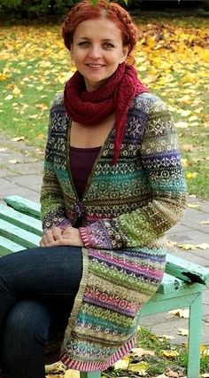 """INSPIRATION ~ This beautiful long line stranded cardigan made by Virginija Sankalienė and you can click thru to the Flikr site where this is featured. Virginija says """" I took most of (the) motives from the book Latviesu Rakstaine Cimdi and improvised.""""   Exquisite!"""