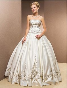 Two-In-One Ball Gown Strapless Satin Floor-length Wedding Dress - Two in One Wedding Dresses - Wedding Dresses - CDdress.com