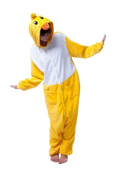 LIHAO Gelbe Ente Onesie Pyjamas Schlafanzug unisex Erwachsene Nachtwäsche Anime Cosplay Halloween Kostüm Kleidung Tier - http://www.amazon.de/dp/B00UFCKU62