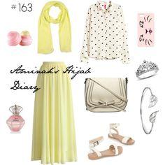 Yellow skirt, polkadot shirt, yellow scarf, white sandals, silver bracelet, silver crown ring, perfume