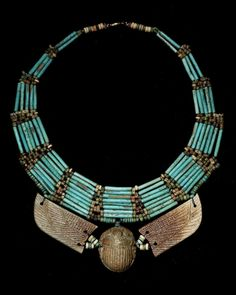 Egyptian Glazed Composition Winged Scarab Necklace,Late Period - B. Sea Glass Jewelry, Gemstone Jewelry, Silver Jewelry, Crystal Jewelry, Jewelry Art, Ethnic Jewelry, Jewlery, Ancient Egyptian Jewelry, Egyptian Crafts