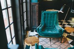 Vintage teal velvet chairs in the new cityhomeCOLLECTIVE designed Finca in downtown SLC, UT. #vintage #modern #classic #interiordesign
