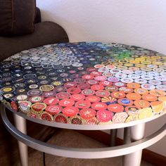 Beer Bottle Cap Mosaic Table - maybe do that instead for a bar cart?
