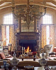 Charlotte Moss Ski House Decor - Ski Retreat Interior Design - ELLE DECOR....I just love her rooms........so inviting and warm!