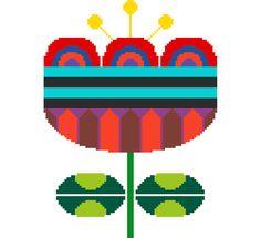 Single large colourful retro flower. Modern cross stitch pattern. Contemporary Mid Century modern design.