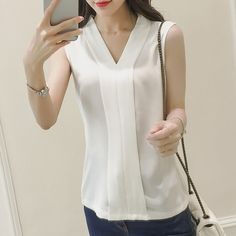 Online Shop Summer Style 2016 Blusas Femininas Women Casual White Chiffon Blouse Shirt Fashion V-Neck Sleeveless Tops Women Blusa Mujer White Chiffon Blouse, Chiffon Tops, Sleeveless Tops, Casual Skirt Outfits, Crop Top Outfits, Summer Shirts, Sewing Blouses, Blouses For Women, Shirt Blouses