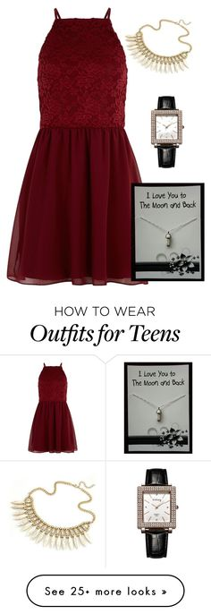 """""""Elegant Dress Red Band Gift Card Mother and Daughter Bond Woman Fashion Watch"""" by fab-life-939 on Polyvore featuring New Look"""