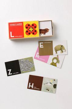 Anthropologie - Charley Harper Flash Cards And Floor Puzzles Game Card Design, Board Game Design, Charley Harper, Art Et Illustration, Graphic Design Illustration, Alphabet Cards, Kids Cards, Packaging Design, Toy Packaging