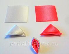 Красива рожево-бузкова шпилька зі стрічок, канзаші. Майстер-клас   podelki-doma.ru