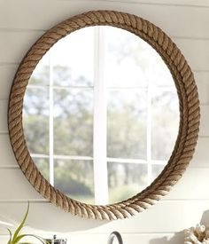 Shop rope mirror from Pottery Barn. Our furniture, home decor and accessories collections feature rope mirror in quality materials and classic styles. Nautical Mirror, Nautical Rope, Nautical Style, Nautical Theme, Nautical Craft, Nautical Bedroom, Nautical Bathrooms, Nautical Design, Bathroom Modern