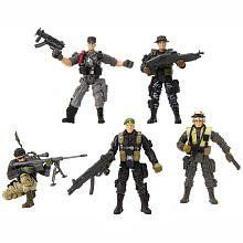 True Heroes 4 Inch Military Soldiers 5-pack Action Figures (Military Men Vary) by Geoffrey. $29.94. This squad of True Heroes soldiers is ready for anything. Includes 5 action figures and 5 weapons. Each warrior is articulated at the neck, shoulders, and hips. Each action figure has an appropriate weapon. Description  Safety Warnings:  CHOKING HAZARD - Small parts. Not for children under 3 yrs.   Product Description Your squad will be ready for anything with t...