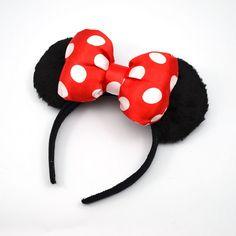 1 peça 2015 mode nouvelle bande dessinée mignon cheveux Sticks chapeaux arc bandes de cheveux minnie mouse bandeau oreilles pour les femmes filles dame bébé