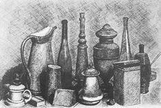 -Giorgio Morandi, this still life drawings catches my eye, because I can easily see where the light hits the objects Still Life Drawing, Still Life Art, Italian Painters, Italian Artist, How To Draw Anything, Simple Subject, Observational Drawing, Object Drawing, A Level Art