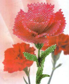 Материалы: • Красный прозрачный бисер — 25 г. • Зеленый прозрачный бисер — 10 г. • Стебель искусственной розы — 1…