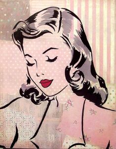 Gorgeous Gal vintage retro inspired mixed media print PINK...uhhh, yeah, I want this!