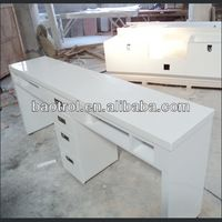 Source art nail shop used artificial acrylic solid surface double nail table on m.alibaba.com