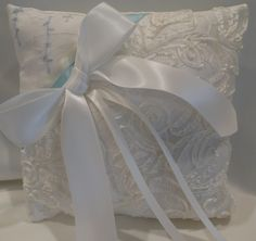 Romantic, sweet Ring Bearer Pillow with touch of blue vintage embroidery, satin, lace and ribbons.  Quite lovely!