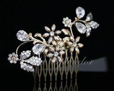 Gold Hair Comb Swarovski Wedding Hair Accessory Golden Shadow Rhinestone Side Comb Crystal Hair Vine AUBURY