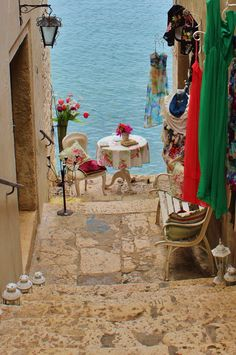 The most colorful & popular lane that leads to the sea Rovinj, Croatia