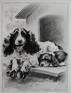 COCKER SPANIEL Print Mother and Child Art Vintage by plaindealing