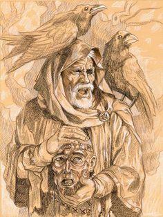 Odin, tenant la tête de Mimir, accompagné de Hugin et Munin.