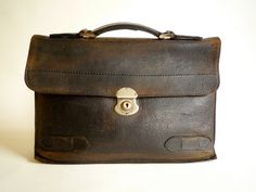 Vintage Leather Bag Briefcase Satchel  1940s by CrolAndCo on Etsy