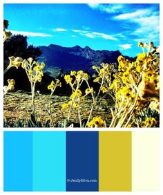Venezuela's Mountain - Blue and Yellow color palette