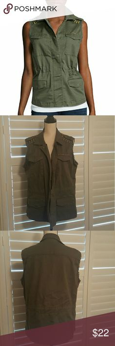 a.n.a Studded Military Vest Chic military vest in olive green features zipper and snap front, drawcord for ruching at waist, and pockets. Never been worn. NWOT. a.n.a Tops
