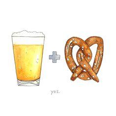 Beer and Pretzel from Drywell Art for $20.00 Food Illustrations, Illustration Art, Oktoberfest Party, Beer Art, Getting Drunk, Ad Design, Graphic Design, Fun Math, Potpourri