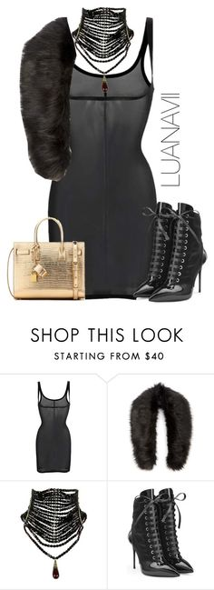 """""""Senza titolo #736"""" by luanavii ❤ liked on Polyvore featuring Wolford, Sole Society, Giuseppe Zanotti and Yves Saint Laurent"""