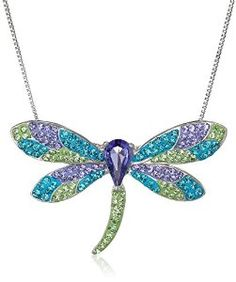 """Sterling Silver Multicolored Dragonfly Pendant Necklace with Swarovski Elements, 18"""" available at joyfulcrown.com"""
