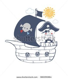 pirate baby bear sailor vector illustration/ baby bear/sweet bear/cute bear/for baby's and kid's shirt design/fashion print design