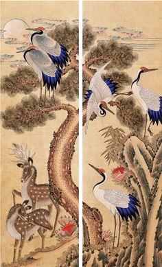 Korean Painting, Chinese Culture, Asian Art, Japanese Art, Oriental, Folk, Miniatures, Birds, Fantasy