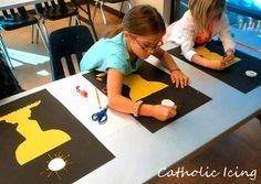 Find all of my First Communion Resources for Kids here. I've been teaching art at our local Catholic Schoolhouse chapter, and while we were learning about positive and negative space, I snuck… Catholic Religious Education, Catholic Crafts, Catholic Kids, Church Crafts, Religion Activities, Teaching Religion, Church Activities, Ccd Activities, Catholic Sacraments