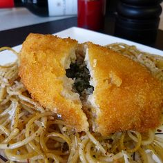 A crunchy chicken recipe flavored with garlic, herbs and lots of delicious butter.. Garlic Chicken Kiev Spaghetti Recipe from Grandmothers Kitchen.