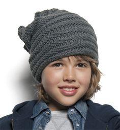 Modèle bonnet droit au point godron - Modèles tricot enfant - Phildar