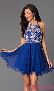 Buy Short Halter Top Homecoming Dress at PromGirl