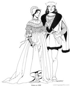 Renaissance Costumes and  Clothing Coloring Pages 17