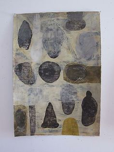 """Mark Goodwin, 2010   Archaeology , milk paint and beeswax on paper  21.5"""" x 15"""""""