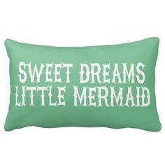 Mermaid Pillow Girls Pink Aquamarine Lavender Sweet Dreams Nursery Children's Room Shower Gift Throw Pillow 12 x 16