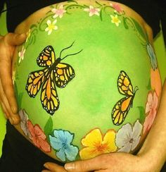 Spring belly crafts - DIY at home - pregnancy belly painting with butterflies & flowers.